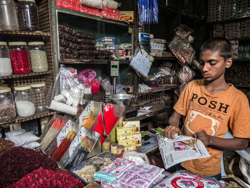 Den unga indiska försäljaren står bak färgrika högar av bindipulver i den Devaraja marknaden royaltyfri foto