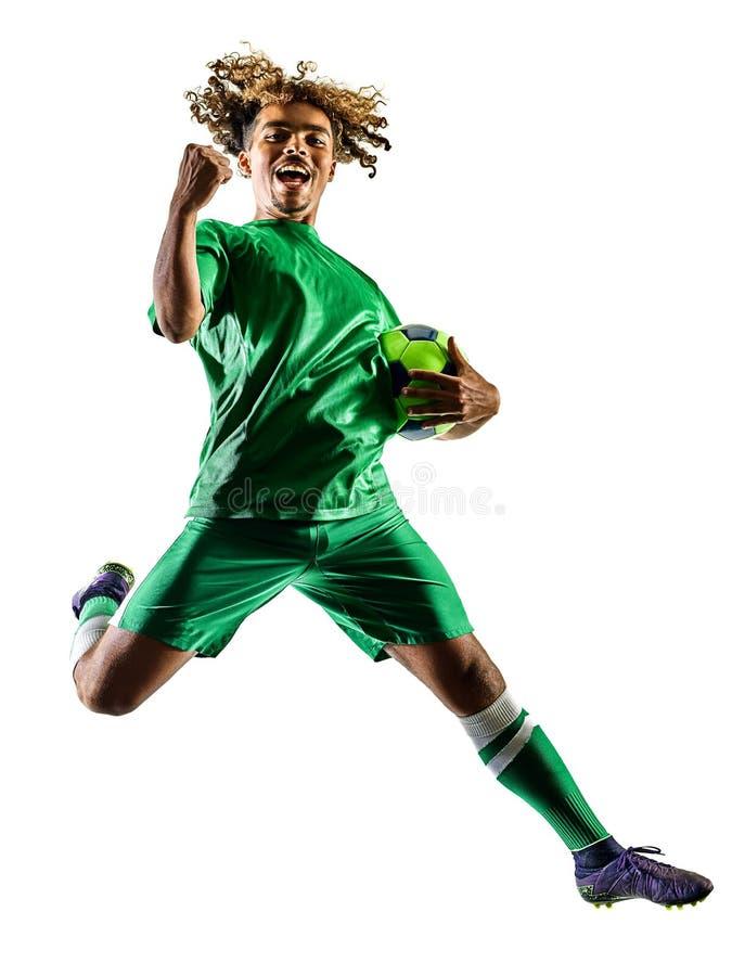 Den unga konturn för mannen för tonåringfotbollspelaren isolerade beröm fotografering för bildbyråer