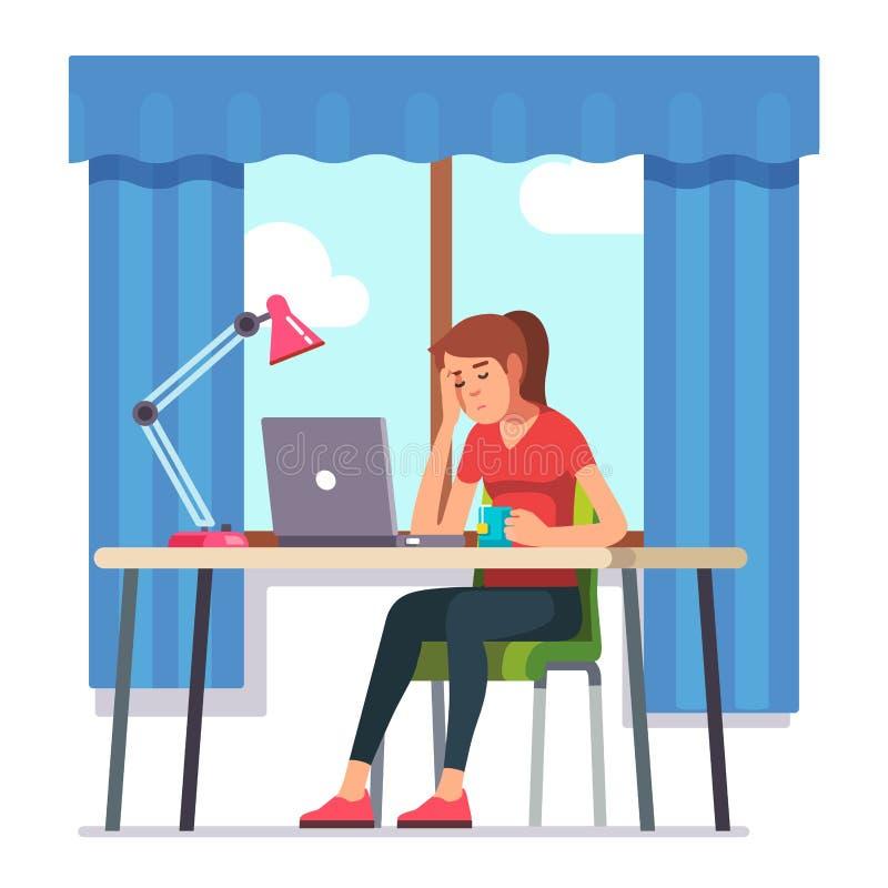 Den unga kvinnan avverkar sovande att arbeta på bärbar datordatoren vektor illustrationer
