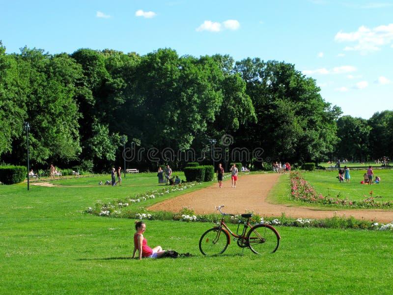 Den unga kvinnan, cykeln som är offentlig parkerar, den Margaret ön, Budapest arkivfoto