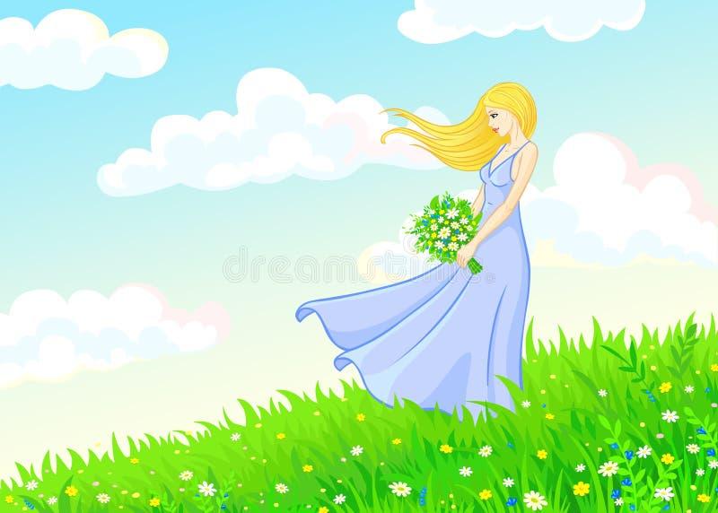 Den unga kvinnan går på en sommaräng vektor illustrationer