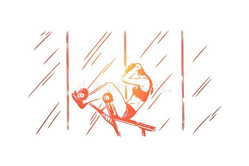 Den unga kvinnan, i att g?ra f?r sportswear, sitter ups och att utbilda buk- press, den kvinnliga idrottsman nen som utarbetar i  royaltyfri illustrationer