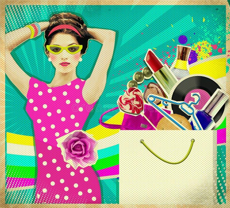 Den unga kvinnan i rosa färger klär bakgrund för .retro-shoppingaffischen royaltyfri foto