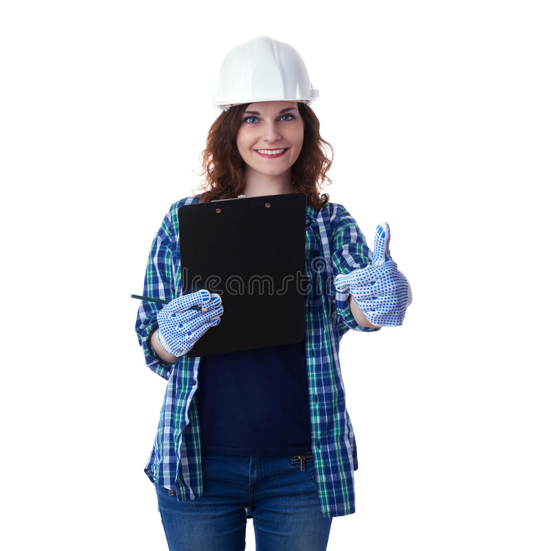 Den unga kvinnan i tillfällig kläder över vit isolerade bakgrund arkivfoto
