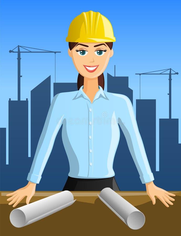 Den unga kvinnan iscensätter med byggnadsaktivitet i bakgrund stock illustrationer