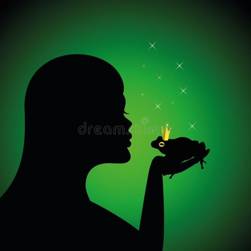Den unga kvinnan kysser en magisk grodaprins stock illustrationer