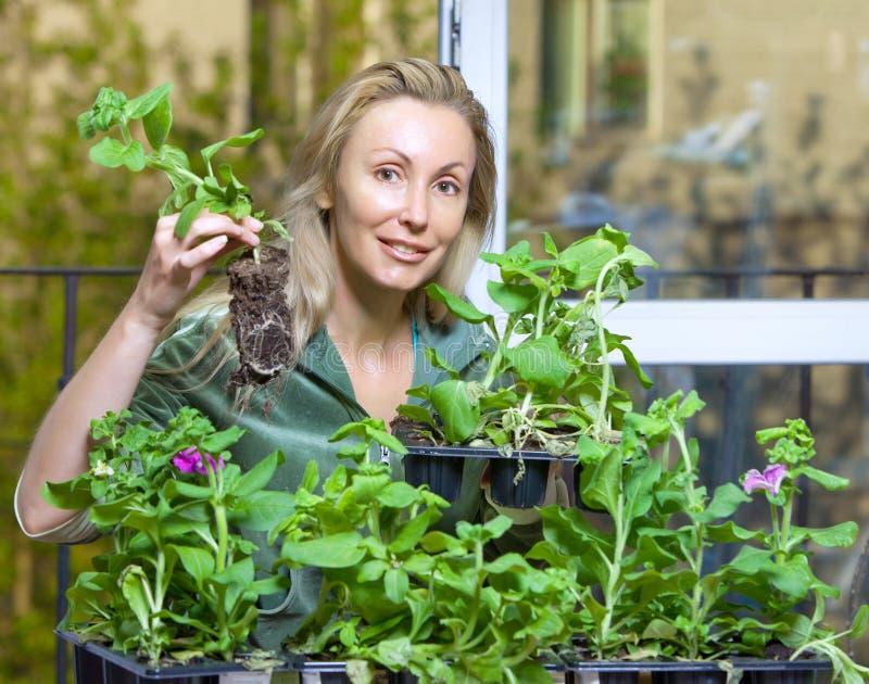Den unga kvinnan landar plantan royaltyfri foto