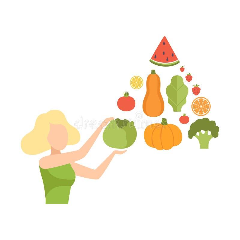 Den unga kvinnan med en pyramid av grönsaker och frukter, sunt äta, bantar, den organiska illustrationen för strikt vegetarianmat stock illustrationer