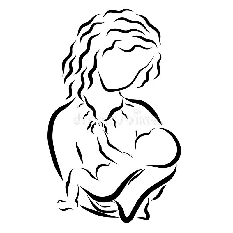 Den unga kvinnan med mjukhet rymmer behandla som ett barn i hennes armar vektor illustrationer
