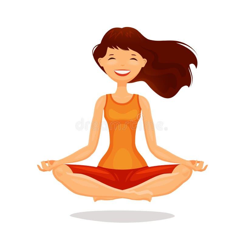 Den unga kvinnan, praktiserande yoga för flicka i lotusblomma poserar Meditationen kopplar av begrepp den främmande tecknad filmk royaltyfri illustrationer