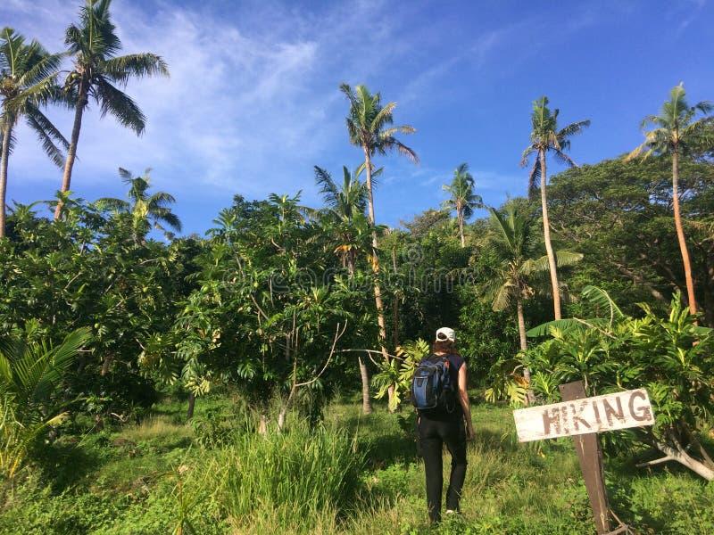 Den unga kvinnan reser och fotvandrar i tropisk terräng royaltyfri foto