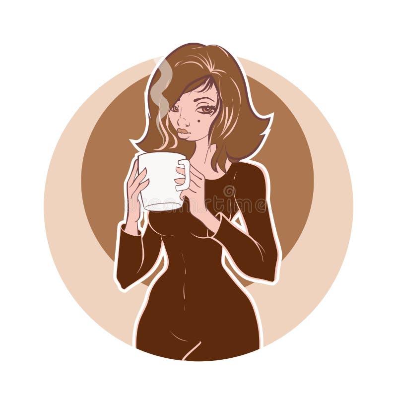 Den unga kvinnan rymmer en kopp kaffe eller ett te Tappningkaffeillustration royaltyfri foto
