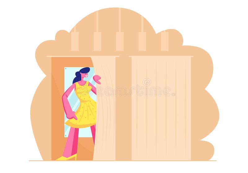 Den unga kvinnan som försöker på slut i loge på lagret, flicka i ny gul klänningställning i kabin med spegeln shoppar in shopping stock illustrationer