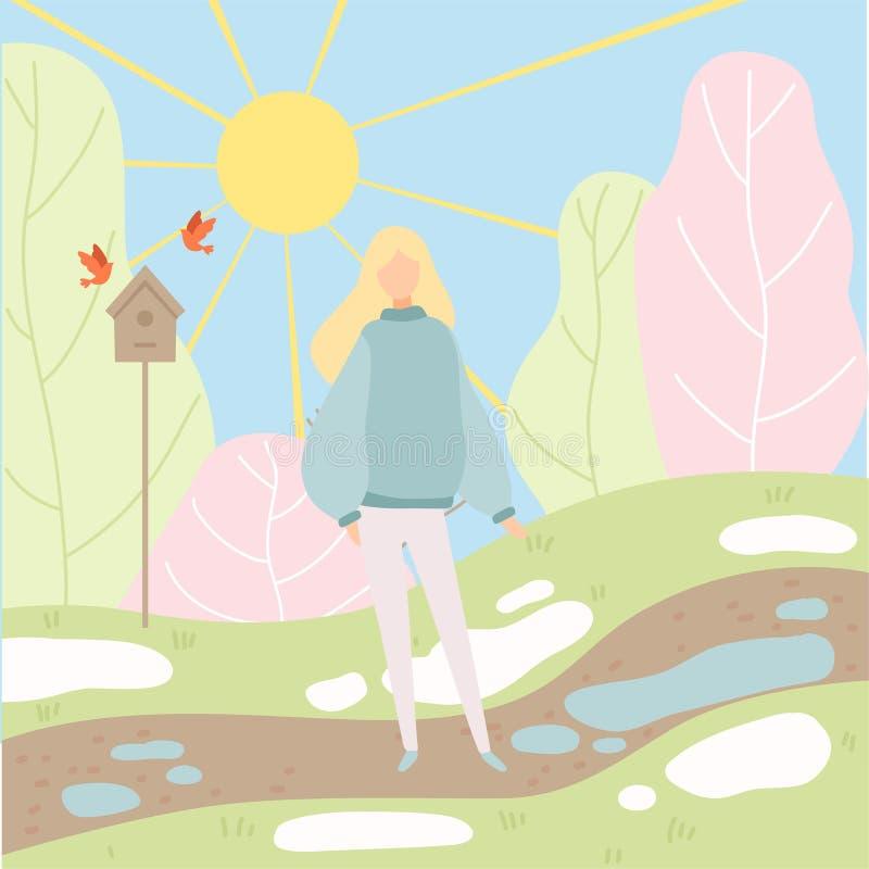 Den unga kvinnan som går i vår, parkerar, kryddar ändring från vinter för att fjädra vektorillustrationen vektor illustrationer