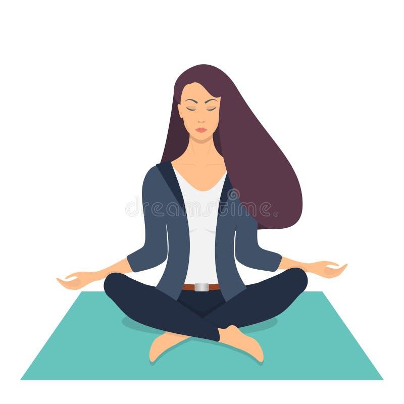 Den unga kvinnan som gör meditation i lotusblomma, poserar med stängda ögon Den härliga flickan kopplar av och att öva yoga på de stock illustrationer