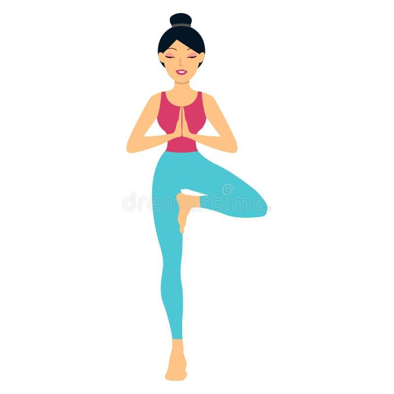 Den unga kvinnan som gör yogaövning, träd-poserar stock illustrationer