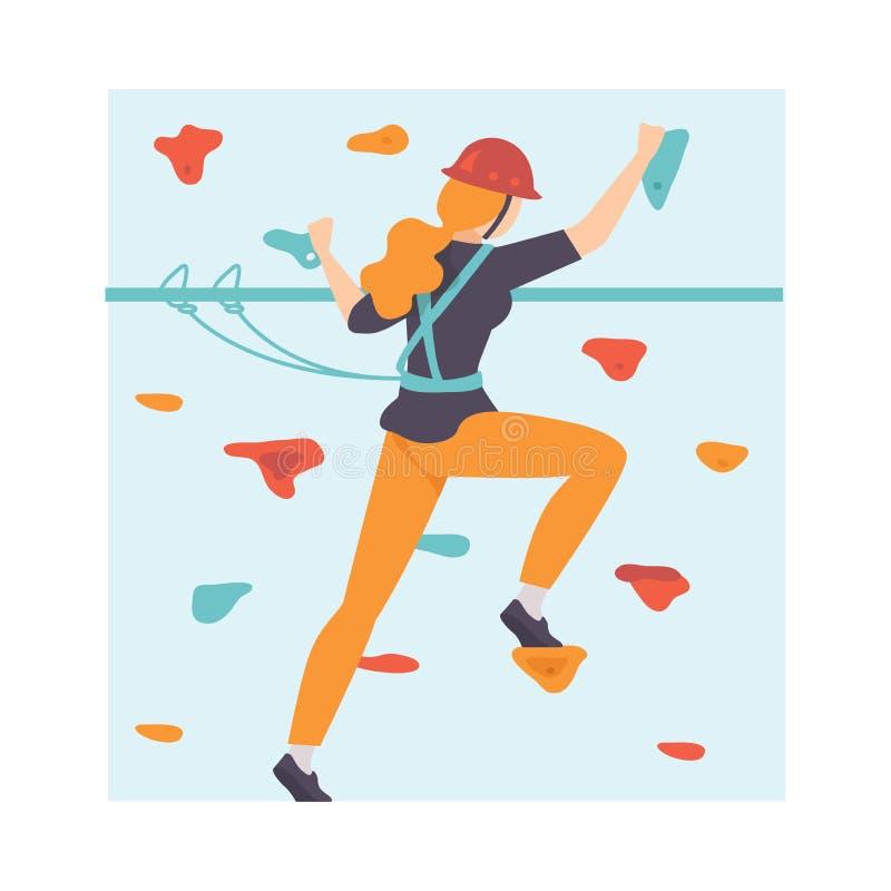 Den unga kvinnan som graderar väggen, kvinnaklättring i affärsföretag, parkerar, hobbyen, extrem sportvektorillustration royaltyfri illustrationer