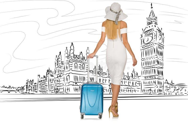 Den unga kvinnan som reser till london i UK royaltyfri illustrationer