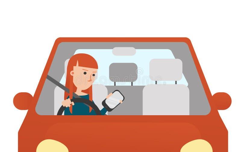 Den unga kvinnan som ser den hennes Mobil telefonen, medan köra stock illustrationer