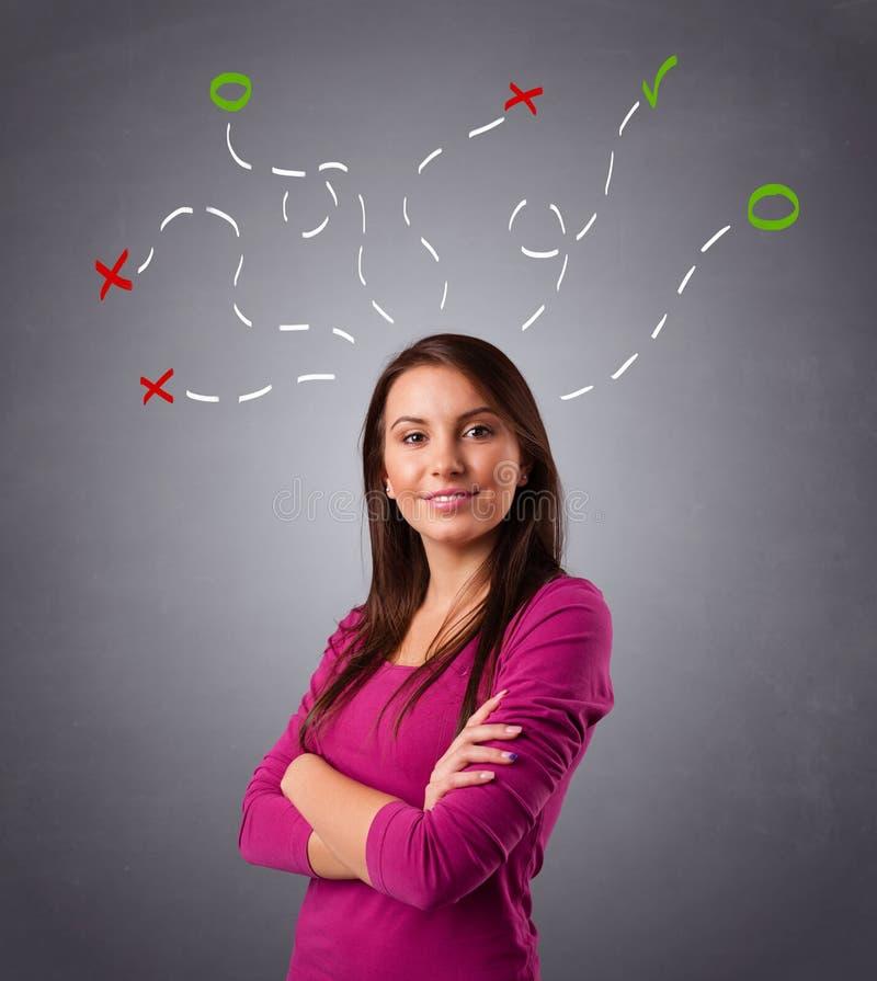 Den unga kvinnan som tänker med abstrakt begrepp, markerar uppe i luften royaltyfri foto