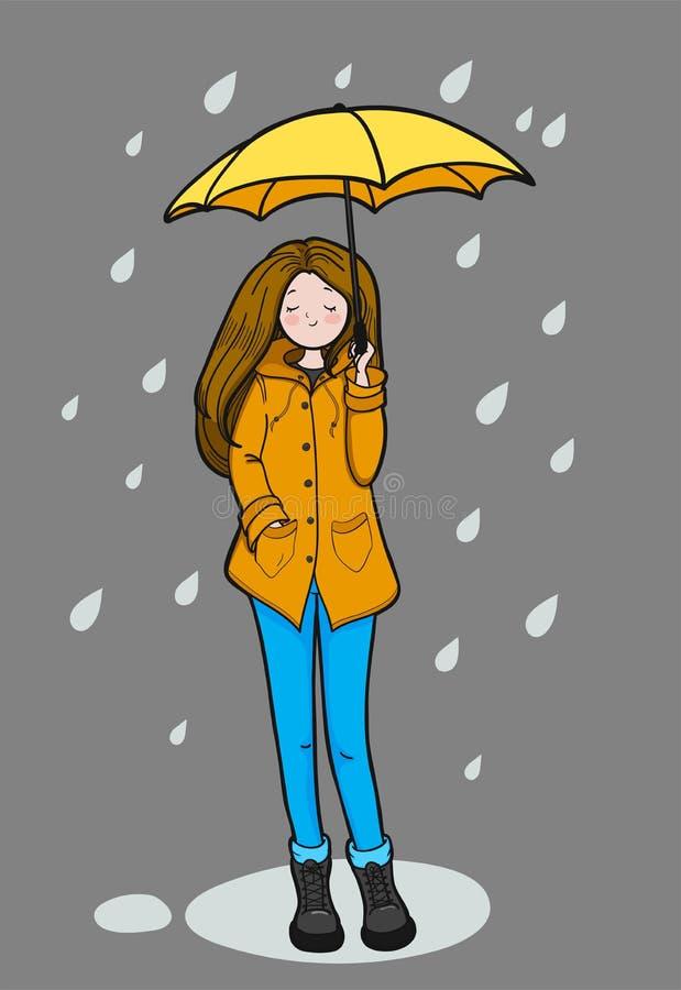 Den unga kvinnan tycker om regnigt väder vektor illustrationer