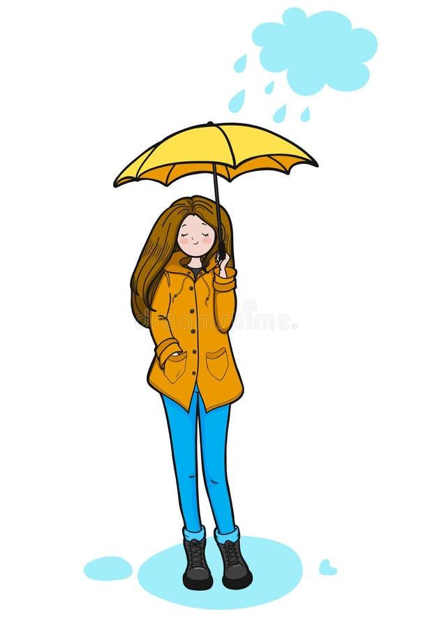 Den unga kvinnan tycker om regnigt väder stock illustrationer
