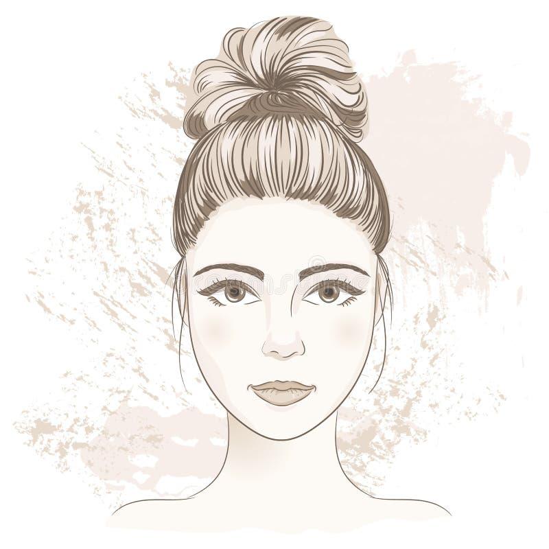 Den unga kvinnan vänder mot Digital monokrom skissar ståenden av beautifuen vektor illustrationer