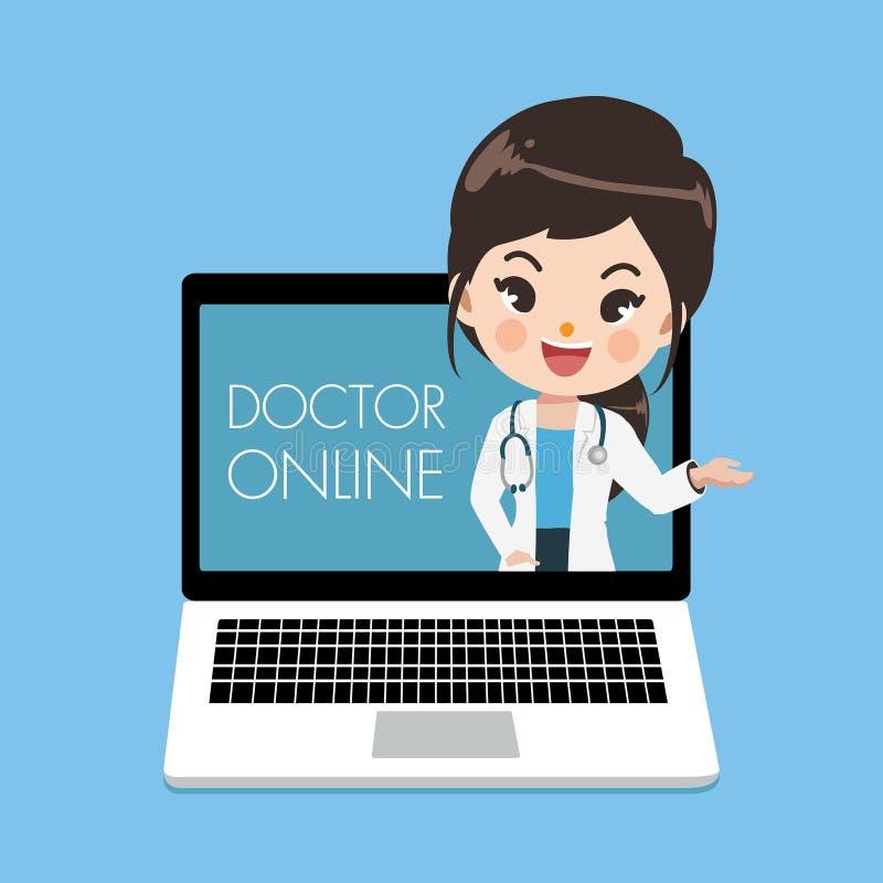 Den unga kvinnliga doktorn föreslår patienter till och med online-bärbara datorn stock illustrationer