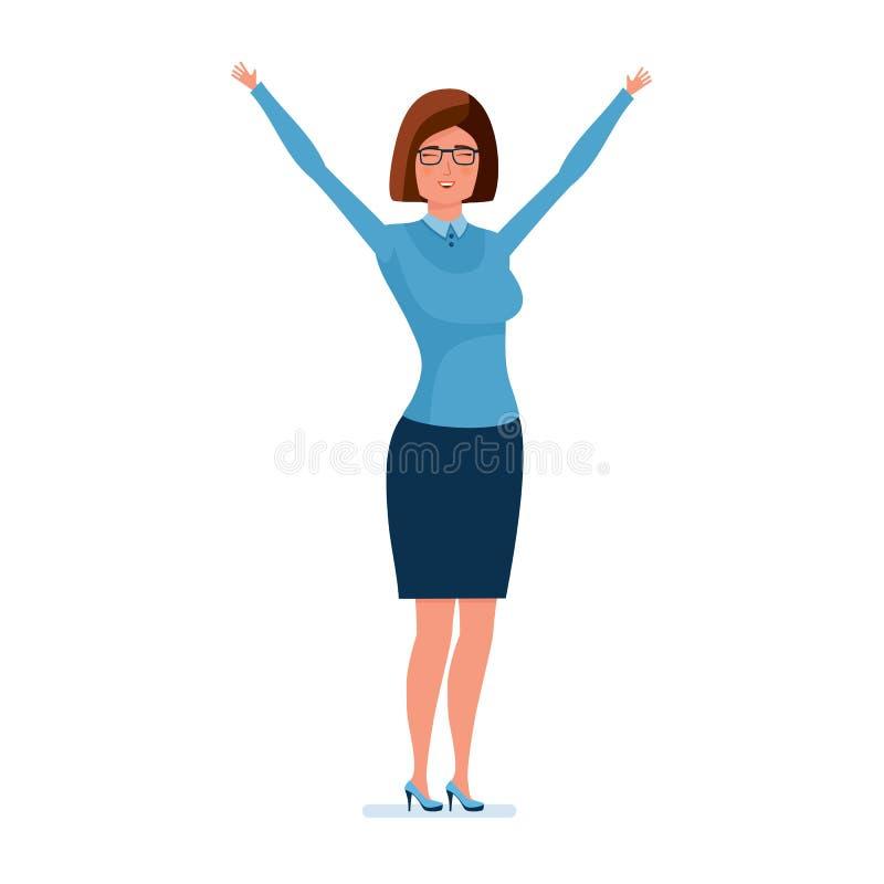 Den unga läraren som rymmer upp henne händer, jublar och att visa hennes sinnesrörelser royaltyfri illustrationer