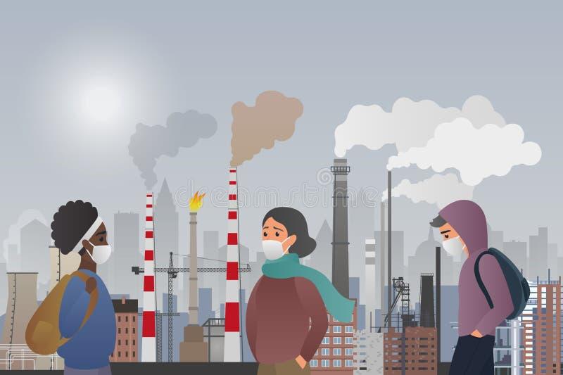 Den unga ledsna mannen och kvinnliga folket bär skyddande maskeringar som lider från tillverkningrörluft som förorenar i staden vektor illustrationer