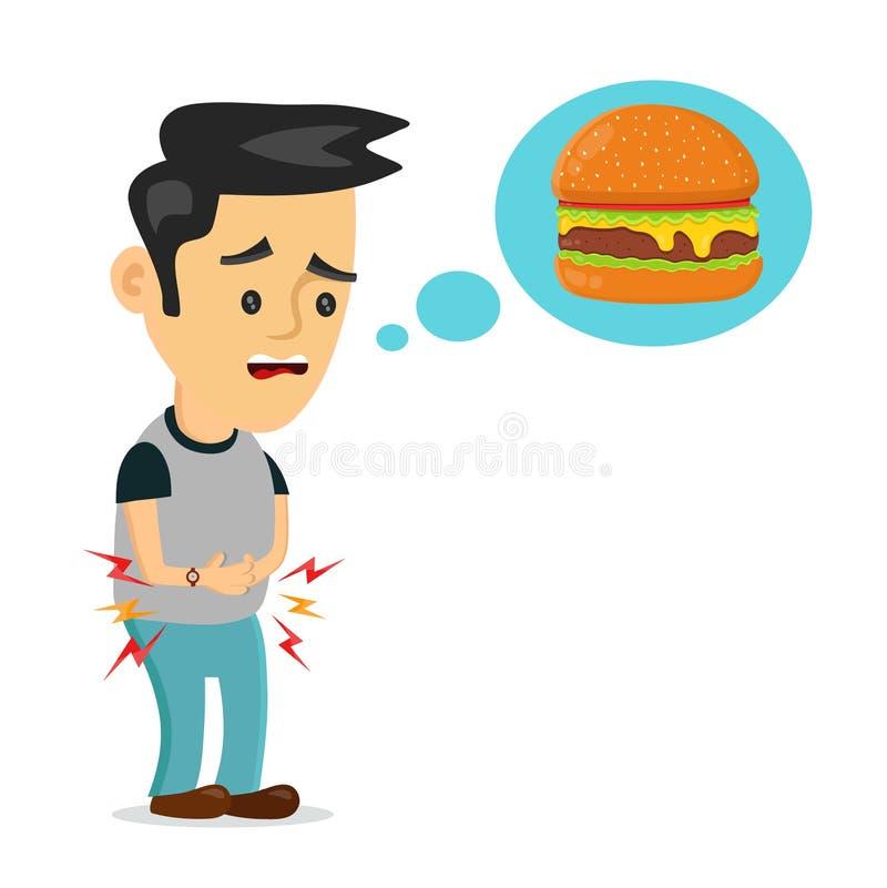 Den unga lidandemannen är hungrig tänker om mat stock illustrationer