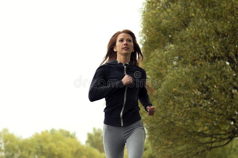 Den unga lyckliga kvinnan som joggar i höst, parkerar Rinnande konditionflicka royaltyfri foto