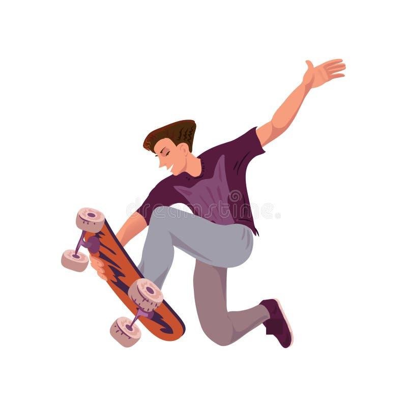 Den unga lyckliga mannen visar extremt skateboardtrick royaltyfri illustrationer