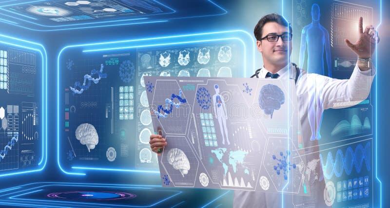 Den unga manliga doktorn i futuristiskt medicinskt begrepp vektor illustrationer