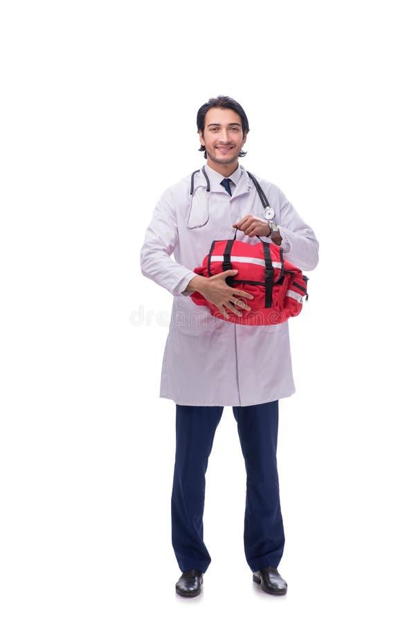 Den unga manliga doktorspersonen med paramedicinsk utbildning som isoleras på vit royaltyfri foto