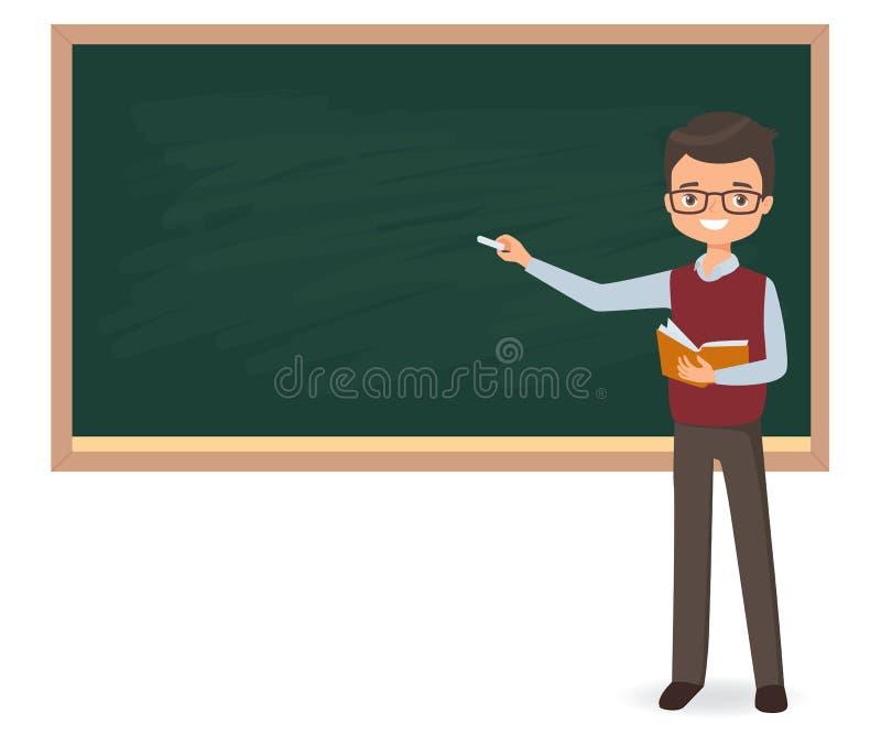 Den unga manliga läraren skriver krita på en skolasvart tavla vektor illustrationer