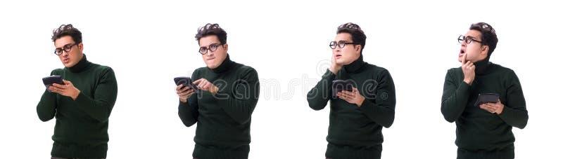 Den unga mannen för nerd med räknemaskinen som isoleras på vit royaltyfri foto