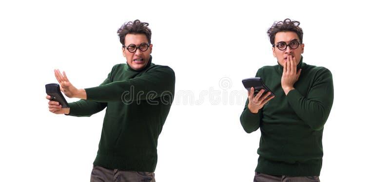 Den unga mannen för nerd med räknemaskinen som isoleras på vit fotografering för bildbyråer
