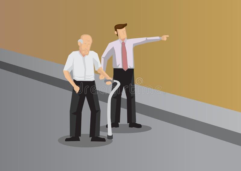Den unga mannen hjälper gamala mannen med den begreppsmässiga vektorn Illustr för riktningen stock illustrationer
