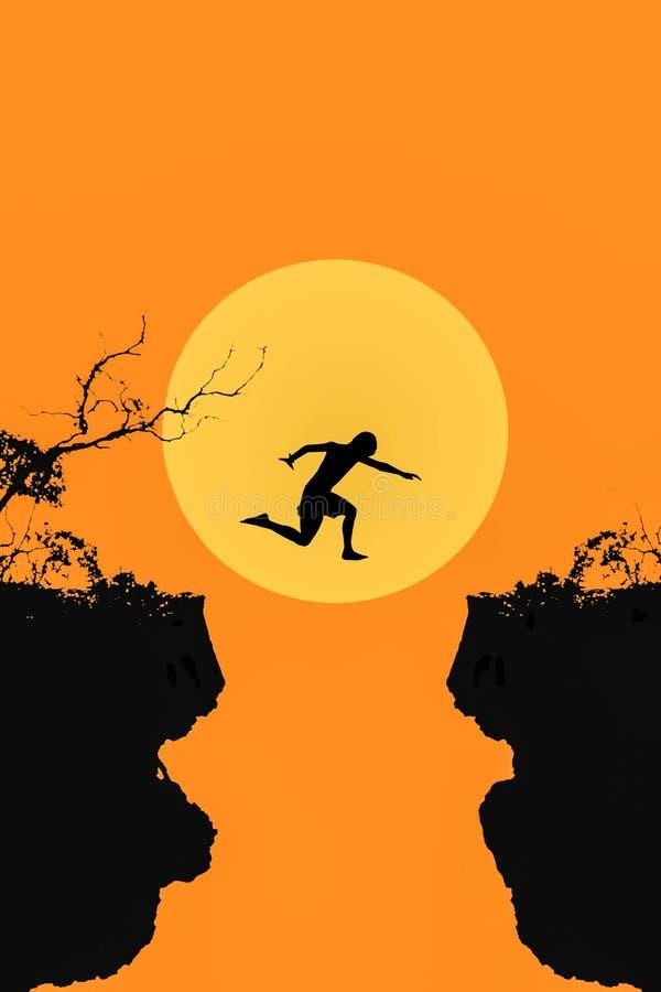 Den unga mannen i kontur hoppar mellan två klippor på stora månelodisar vektor illustrationer