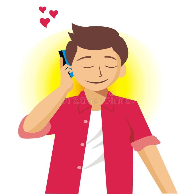Den unga mannen kallar hans vän med förälskelse-vektorn illustrationen stock illustrationer