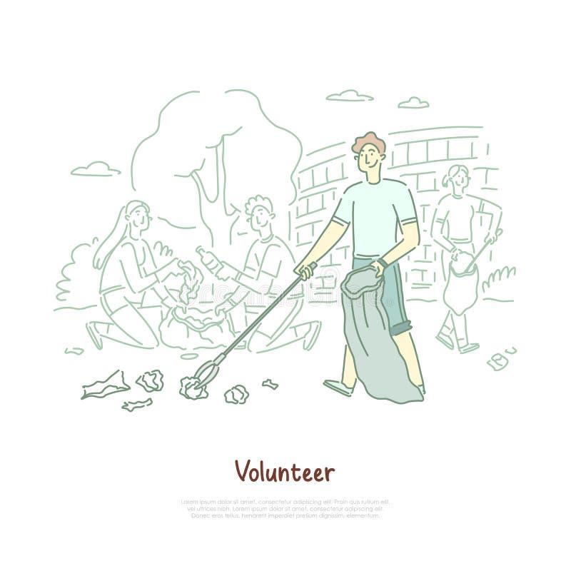 Den unga mannen med avfall för lokalvård för förfogandepåsen, miljöskydd som ställa upp som frivillig, avfalls återanvänder och a stock illustrationer