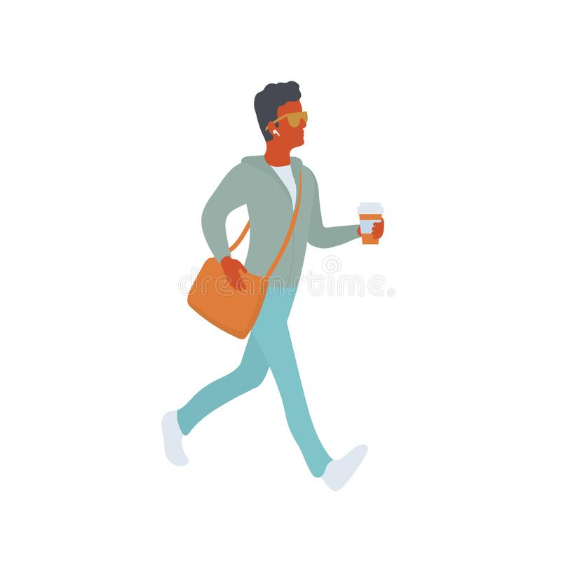 Den unga mannen med kaffe i hans hand på går royaltyfri illustrationer