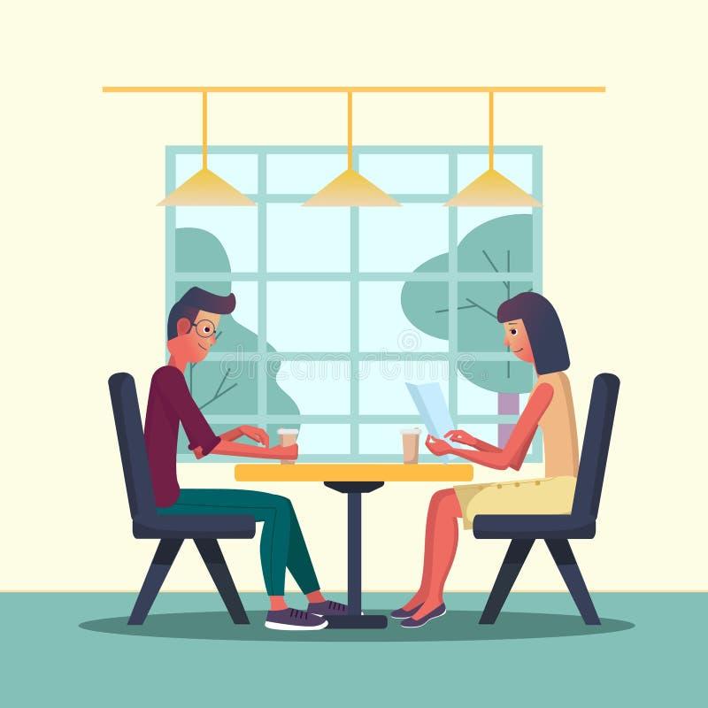Den unga mannen och kvinnan möter i ett kafé och ett drinkkaffe Vektorillustration med inre av ett kafé, restaurang Tecknad filml royaltyfri illustrationer
