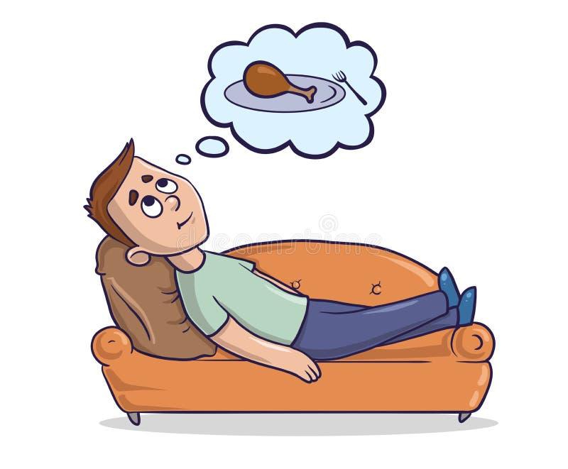Den unga mannen som ligger på enfärgad soffa, tänker om maten Den hungriga grabben drömmer om stycke av höna cartoon royaltyfri illustrationer