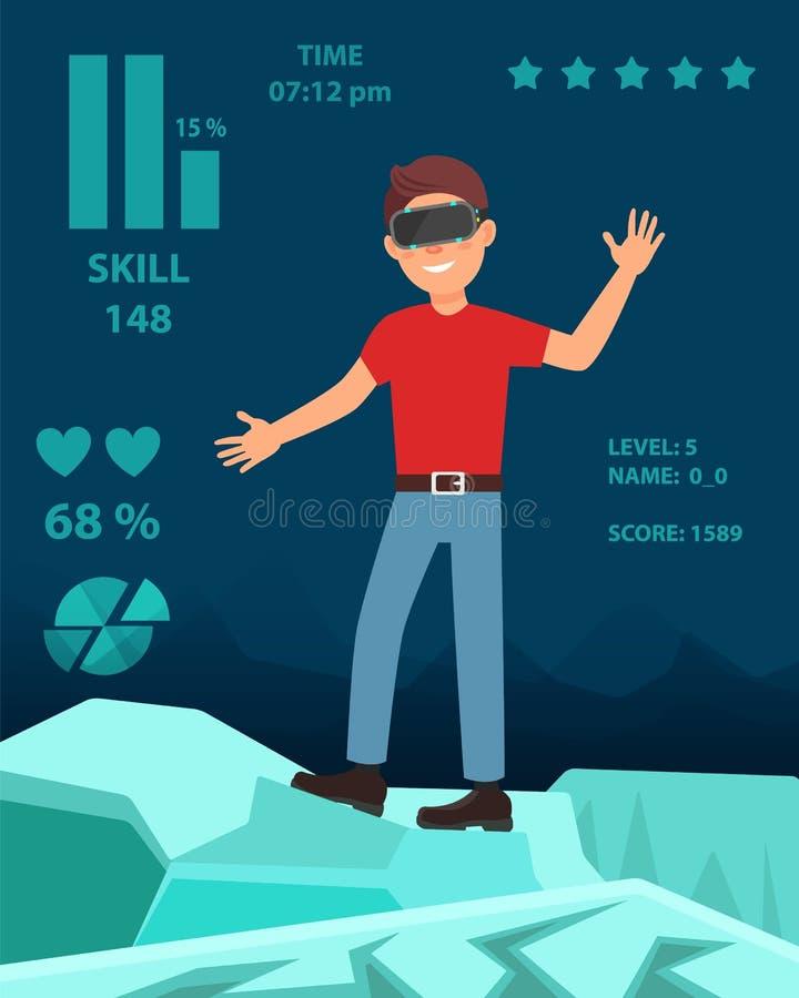 Den unga mannen som spelar videospelet i virtuell verklighethörlurar med mikrofon, personen som tycker om VR-hörlurar med mikrofo vektor illustrationer