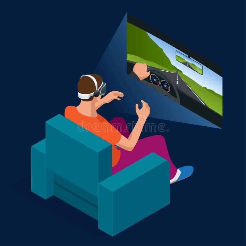Den unga mannen spelar den tävlings- videospelet i simulator för virtuell verklighet 3D genom att använda hörlurar med mikrofon P royaltyfri illustrationer
