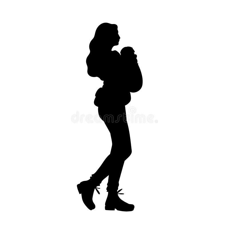Den unga modern med behandla som ett barn b?raren som att ta g?r med hennes behandla som ett barn Svart kontur som isoleras p? vi stock illustrationer
