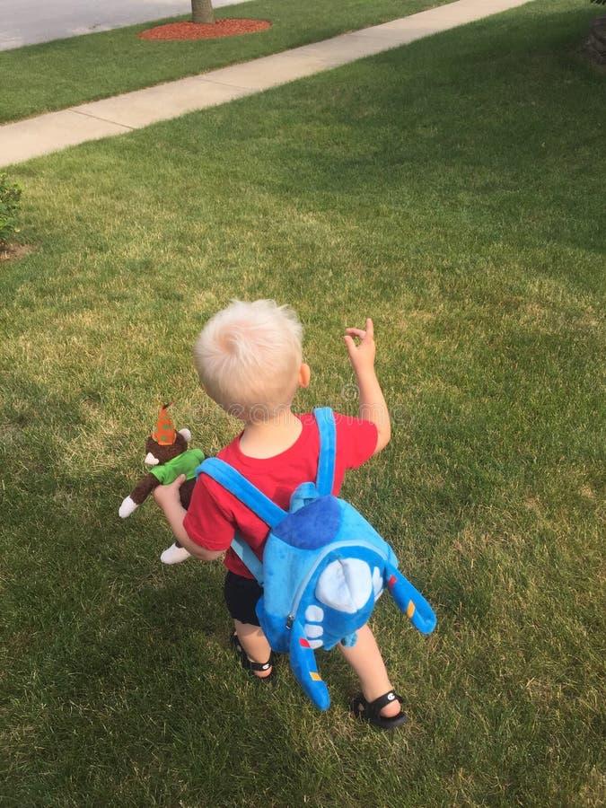 Den unga pojken går över gräsmatta royaltyfri fotografi