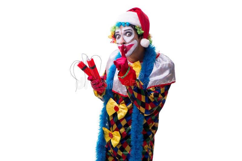 Den unga roliga clownkomediförfattaren som isoleras på vit arkivbild